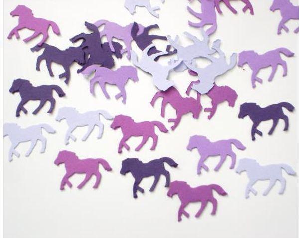Custom 150pcs glitters Mixed Purple Horse confettis wedding table scatters Christmas bridal shower bachelorette party decorations Event