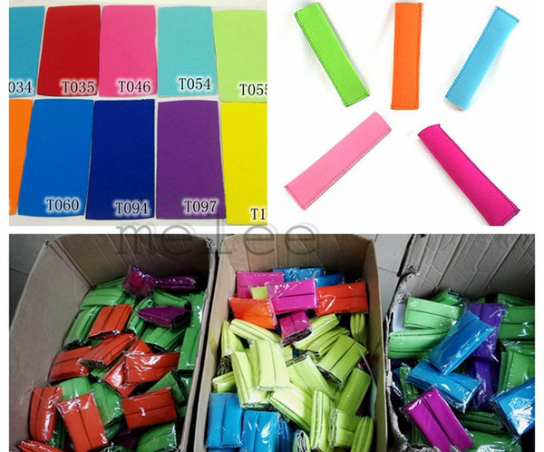top popular Hot Sale 2016 New Neoprene Popsicle Holders Ice Cream Tubs Party Drink Holders 15.5*4cm Ice Sleeves Freezer Ice Covers 12colors choose free 2021