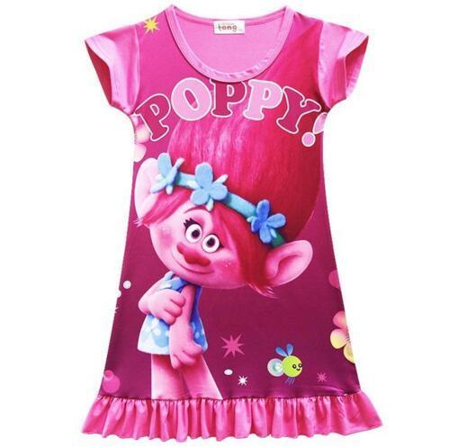 Toddler Girls Dress Princess Party Costume Cartoon Trolls Casual Clothing Vestidos Infantis Pajamas Cheap Baby Summer Clothing