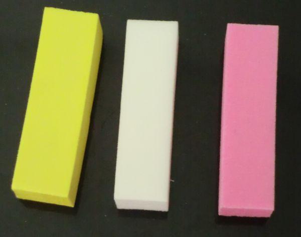 3Pcs Blanco Amarillo Rosa Nail Buffer Lijado Bloqueo Nail Art Files Manicura Pulido Lijar Archivos Bloque Pedicura Manicura Cuidado Nail Art Buffer
