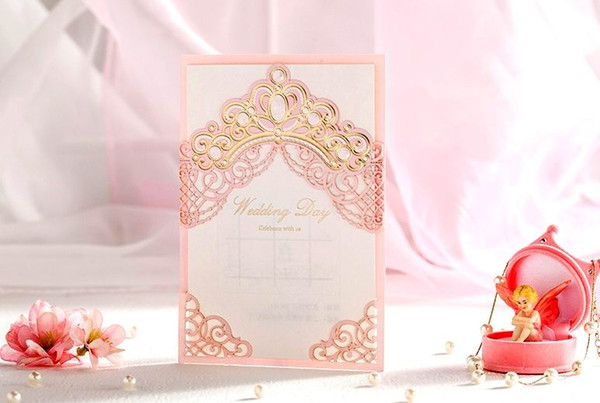 best selling Laser cut wedding invitations cards Personalized Royal Hollow Wedding Cards Invitations Wedding Supplies Free Customized Printing Hot