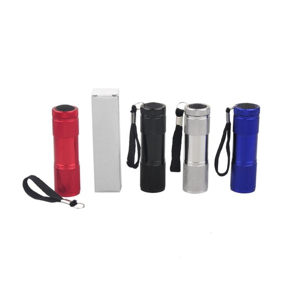 Aluminum Alloy Portable UV Flashlight Violet Light 9 LED 30LM Torch Light Lamp Mini Flashlight 4 Color DHL