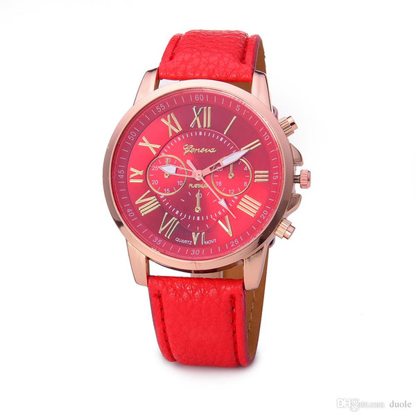 men quartz watches 12 colors sports students couples watch Geneva Leather watch For Christmas gifts, birthday gifts Free DHL Fedex UPS