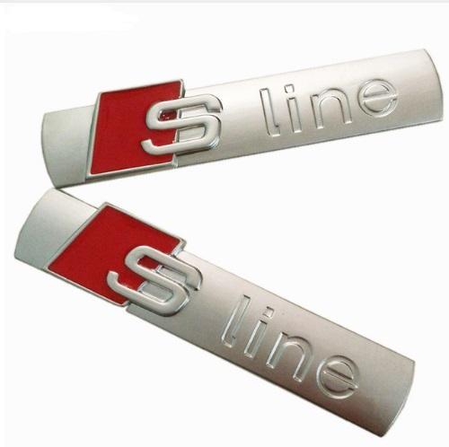 3D Metal Araba S line Sticker Kapak için Audi Sline Logo A3 A4 A5 A6 Q3 Q5 Q7 B7 B8 C5 S6 Oto Araba Çıkartması Aksesuarları Styling