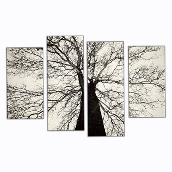 4 Picture Combination Modern Paintings Black and White Winter Tree Oil Painting Spray Pain Art Home Wall Decoration