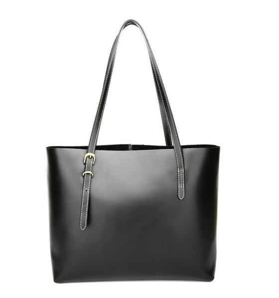 KISSUN Factory Women Leather Shopping Bag Tote Bag Black Veg Tanned Pure Leather Hand Stitching Shopping Bag Luxury Quality Wholesale
