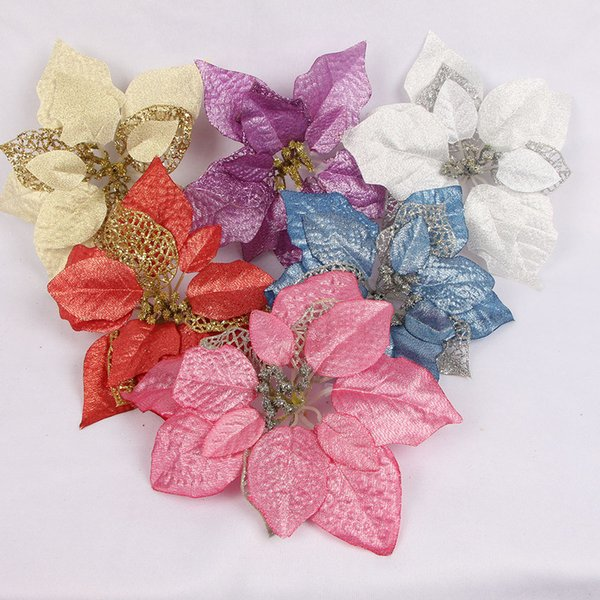 Accessoires de fleurs artificielles décoratives de Noël de 22cm en plastique or / argent / but / décoration d'arbre de Noël rouge / rose / bleu feuilles d'ornements