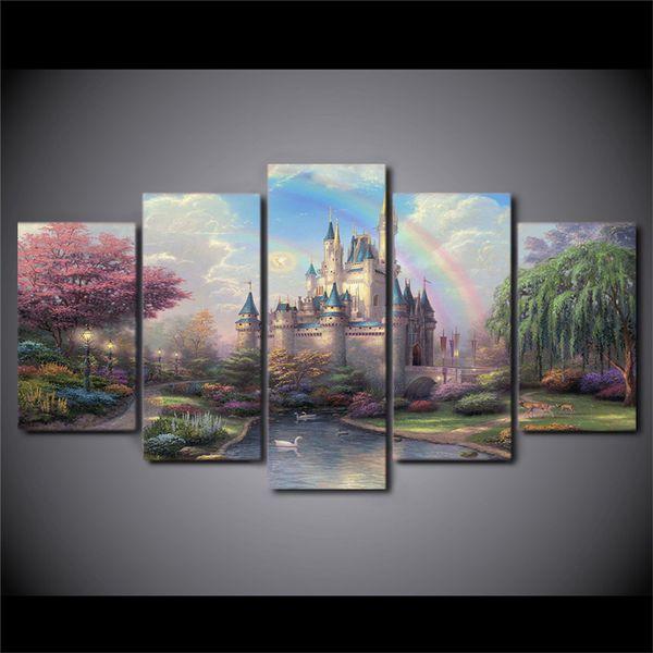 Thomas Kinkade Cinderelas Castelo, 5 Peças de Decoração Para Casa HD Impresso Arte Moderna Pintura sobre Tela (Sem Moldura / Emoldurado)