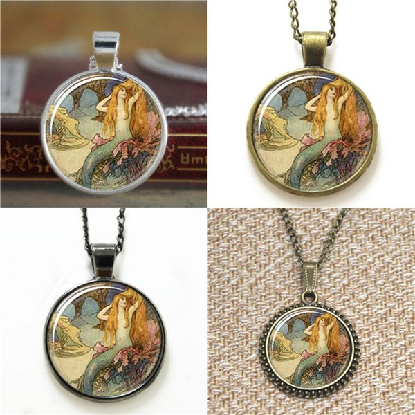 10pcs Mermaid ASD2 Charm With Chain glass Necklace keyring bookmark cufflink earring bracelet