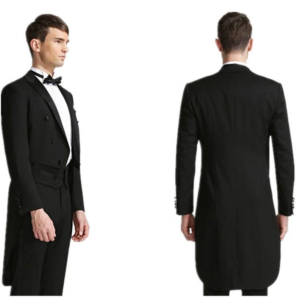 New Desgin Tailcoat Groom Tuxedos Black Mens Suits Double Breasted Trim Fit Best Man Magician Performance Formal Wears(Jacket+Pants+Bow)
