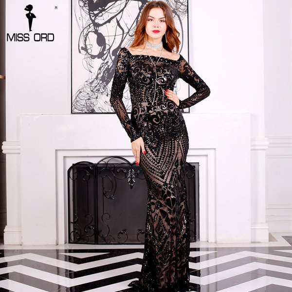Wholesale- Missord 2017 Sexy slash neck long sleeve sequin maxi dress FT8249 bfabeb5ff64a