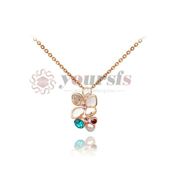 Yoursfs Trendy Mutli-colored Flower Pendant Necklaces 18 K Rose Gold Plated Gold Use Austrian Crystal Statement Necklace For Women Jewelry