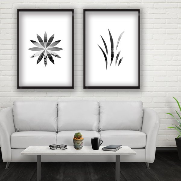 2 Paintings Black And White Geometric Flowers Fashion Home Decoration  Painting Wall Art Painting Postersas Printing