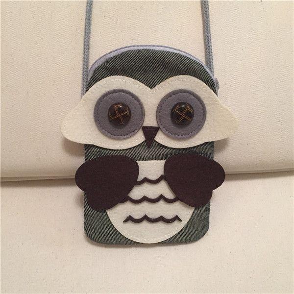 Cute Owl Cloth Satchel Kids cartoon animal messenger bag 11.5x18.5cm Girls mini coin bag nursery school bag girls gifts clothing accessory