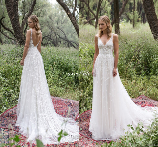 top popular Romantic Limor Rosen 2020 A Line Wedding Dresses Deep V Neck Lace Vintage Garden Beach Bridal Gowns Bohemia 2019