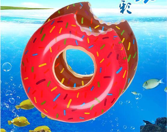 20 unids moda 120 cm Gigantesco Donut Flotador Natación Anillo Inflable Piscina para adultos flotadores playa 2colors y juguete de natación