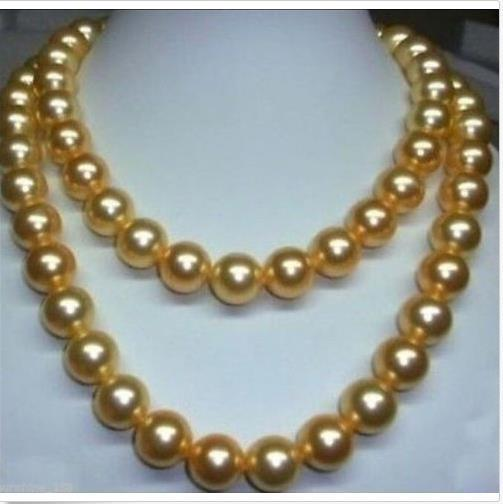 35 inch huge AAA 11-12 mm genuine south sea golden pearl necklace 14k Gold Clasp