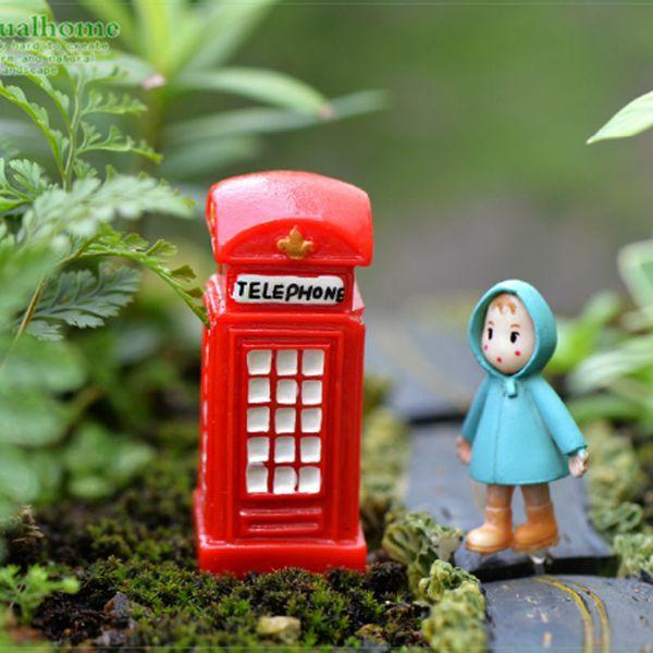 5pcs Telephone Booth Resin Crafts Fairy Garden Miniatures Succulent Gnomes Bonsai Tools terrarium Dollhouse Toys Aquarium Jardin Home Decor