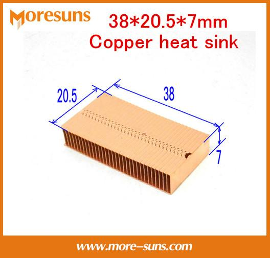 Wholesale- Fast Free Ship 2pcs/lot DIY Extended Shortened All Copper Fins 38*20.5*7mm Copper Heat Sink