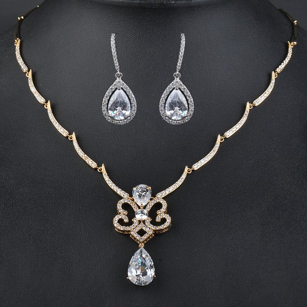 Vintage Style Elegant Jewelry Big Waterdrop Clear Crystal Pendant Africa Earrings&Necklace Jewelry Sets Wedding Gift GLN0123