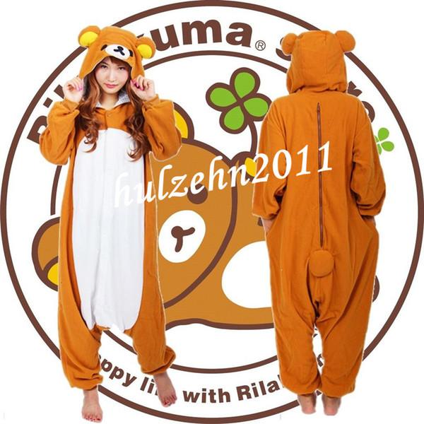 top popular Wholesale-NEW Rilakkuma Pajamas Anime Cosplay Costume Unisex Adult Onesie Sleepwear 2020