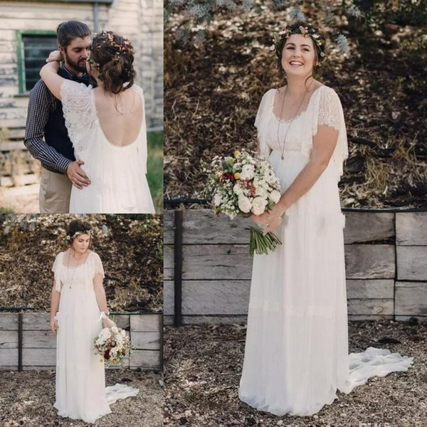 2017 Ivory Bohemian Wedding Dresses Plus Size Maternity Lace Short Sleeves Cheap Scoop Open Back Country