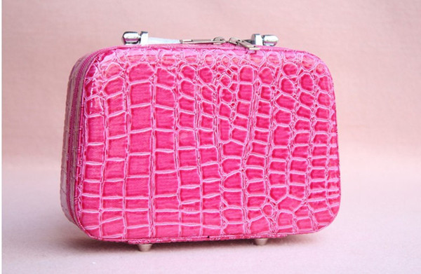 High Quality Candy Color PU Crocodile Pattern Ladies Cosmetic Bag/Makeup Bag Toiletry Case