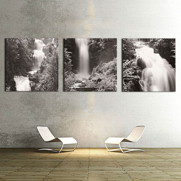 Wall art 3 panel black and white images waterfall canvas prints home decoration living room modular