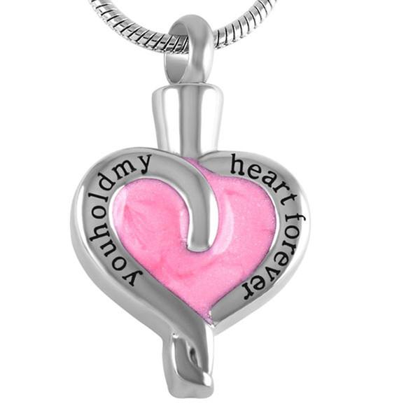 Tieni il mio cuore per sempre incisione gioielli in acciaio inox cremisi smalto rosa in collane ciondolo, donne ciondolo in cenere all'ingrosso
