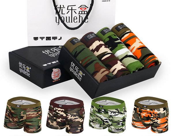 Hot! Top High Quality Gift box men's underwear 4pcs/box Camouflage printed panties Model U convex men panties Boxer Shorts male underpants