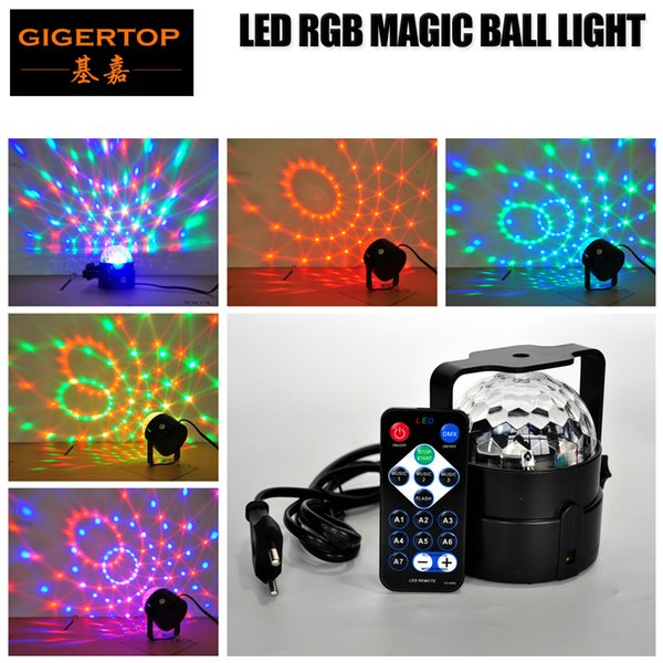 Gigertop TP-E30 Remote Control Crystal Magic Ball Led Light RGB Color Rotation Swing Effect Sound/Music/Auto/FLash/Fade Working