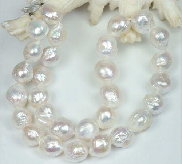 "Huge 12-13MM Australian south sea kasumi white pearl necklace 18"""