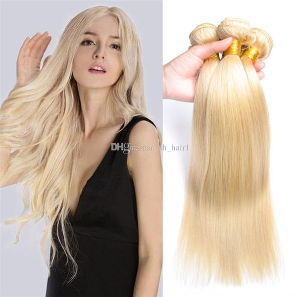8A Peruvian Blonde Virgin Hair Weaves 3Pcs/Lot #613 Platinum Blonde Straight Human Hair Extensions Bleach Blonde Peruvian Hair Bundles