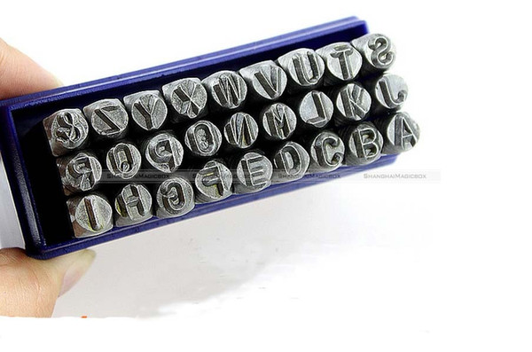best selling Wholesale-Hand Metal Marking Stamps Uppercase Punches Letters Alphabet Set 3MM Free Shipping SMB