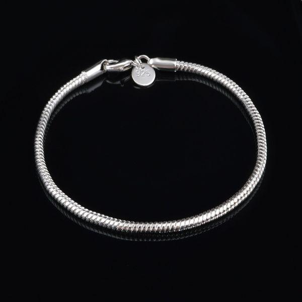 4MM Snake Bracelets mens Bangle Charms Bracelet Men Bangles 925 Silver Plated Chain Designer Jewelry Fashion Accessories Wholesale 20cm