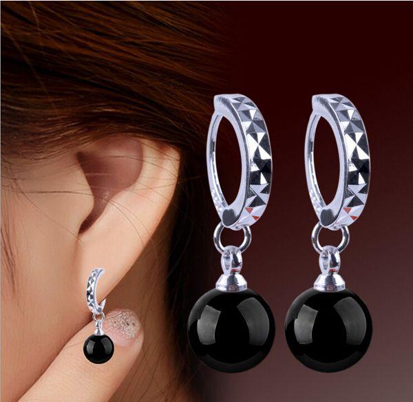 Luxury Vintage Agate Earrings for Women Black Red 8mm Round Ball Clip On Earrings Drop Bohemian 925 Sterling Silver Agate Ear Jewelry