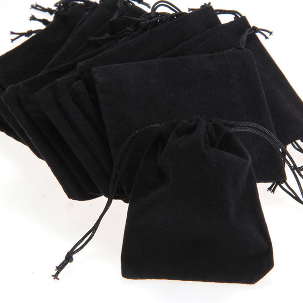 Jewelry Storage Bag Velvet Gift Jewelry Drawstring Bag Pouch Wrapping Black Pouches Bags Velour Small Lot Ring Cloth Bag 7*9cm 50pcs/Lot