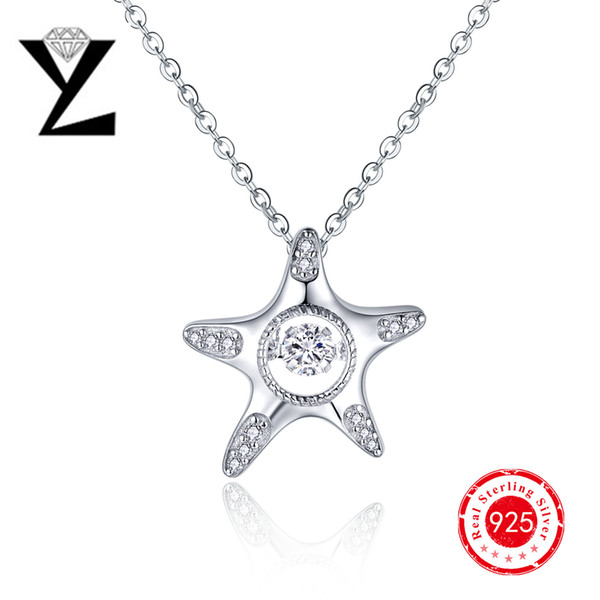 Personalized Starfish Ocean Serie 925 Sterling Silver Necklace Chain with Dancing Stone Pendant for Women Animal Friendship Pendant NP57430A