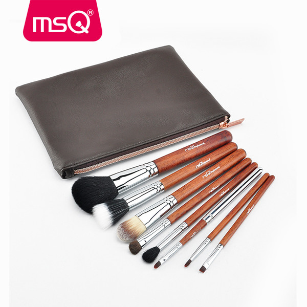 Msq Pro Makeup Brush Set 8pcs Copper Pipe High Quality Powder Eyeshadow Foundation Make Up Tool Kits with A Pu Leather Purse