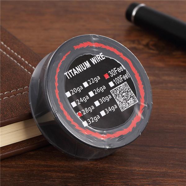 30pcs Titanium Wire Resistance 30 Feet TA1 Ti AWG 26g 28g 30g Gauge Coil Roll For Temp Control TC Vape Mod Electronic cigarettes