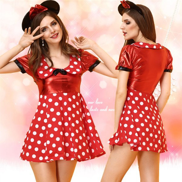 Adult Minnie Mouse Mickey Cosplay Costumes Little Kitty Red Polka ...