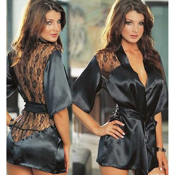 Fashion Women Black Roses Lace Sexy Underwear Sexy Bathrobe Pajamas