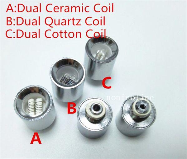 Cannon Vase dual quartz replacement coils for Glass Globe Wax Vaporizer dual wax Globe VAPOR Ceramic ROD Bowling VS SKILLET COIL
