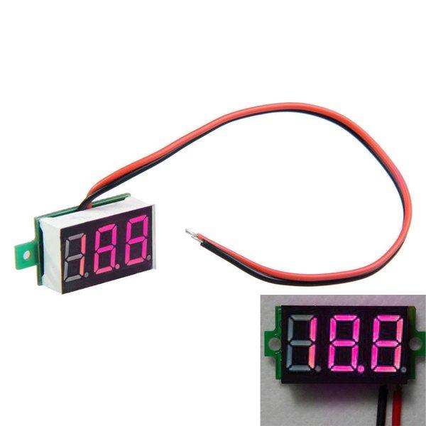 Wholesale-30X10mm 2-Line Mini Dijital Voltmetre Kırmızı LED Panel Gerilim Metre 3-Digital Ekran Gerilim Voltmetre VE797 P