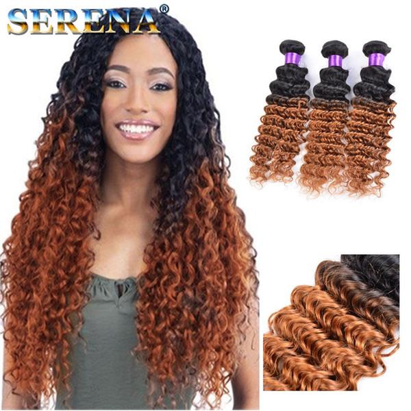 1B 30 Renkli Sarışın Koyu Kökleri Ombre Brezilyalı Derin Dalga Dalgalı Virgin İnsan Saç Dokuma Atkı Uzantıları 3 Adet Çok Koyu Bal Sarışın Saç