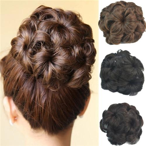Cheap flower clip in wedding bridal updo chignon fluffy bun flower clip in wedding bridal updo chignon fluffy bun synthetic hair extensions pieces for black women pmusecretfo Images