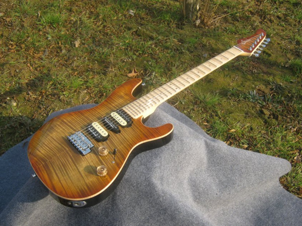 top popular Best Selling Sur electric guitar see thru brown, 2 posts tremolo,maple fingerboard with scallop! 2020