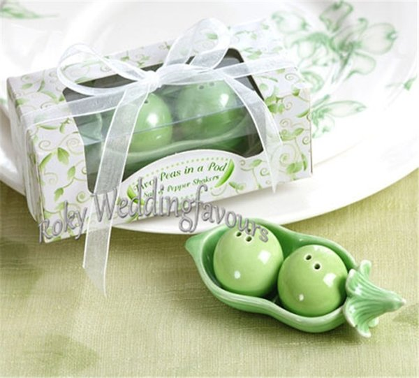 FREE SHIPPING 50sets 2Peas in a Pod Ceramic Salt & Pepper Shakers in Gift Box Wedding Favors Bridal Shower Party Table Decor Supplies