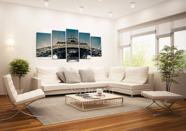 Modern 5 Piece Wall Art Painting Paris City Custom Canvas Prints Picture of Eiffel Tower Digital Modular Picture Prints Dropship