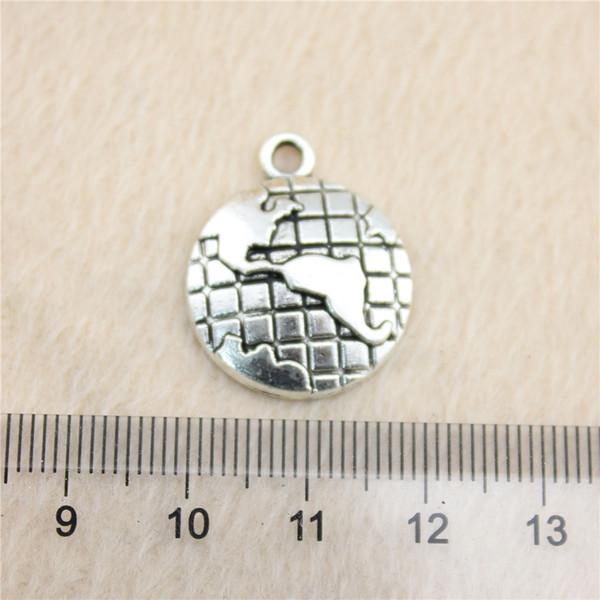 20Pcs 24*20mm antique Silver ToneGlobe Charms Zinc Alloy DIY Handmade Jewelry Pendants Wholesale